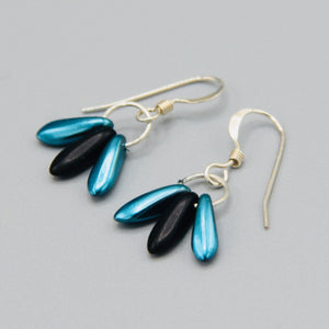 Janet Earrings in Satin Finish Blue and Matte Black
