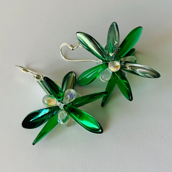 Emma Earrings in Green Shiny Finish