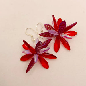 Emma Earrings in Red with Laser Finish Peacock Design