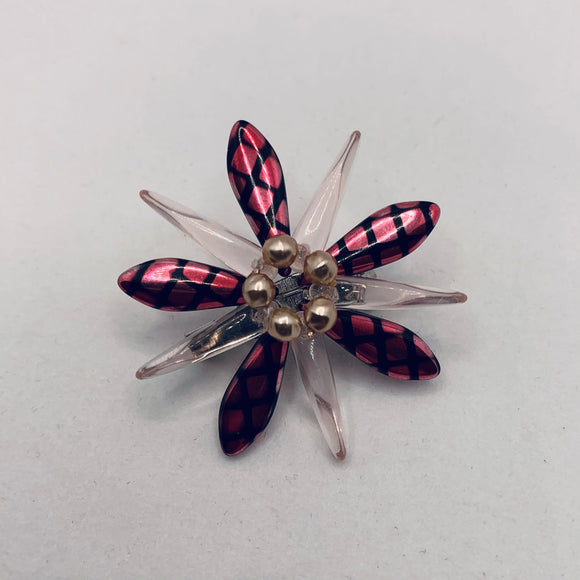 Madeleine Pin in Pink Crosshatch with Pearl Center