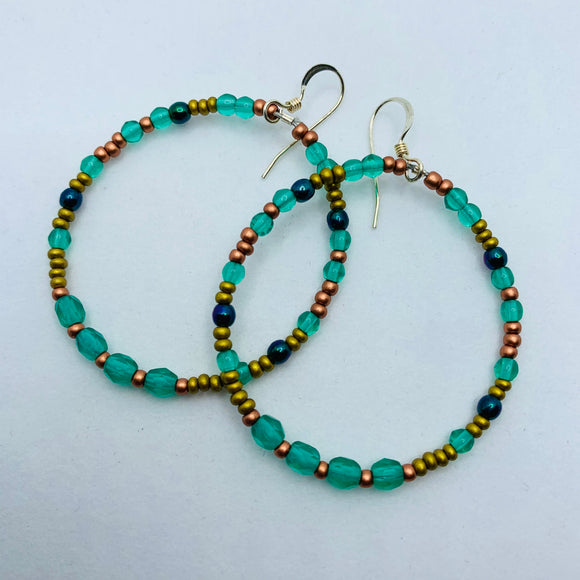 Hannah Boho Earrings in Forest Green and Copper