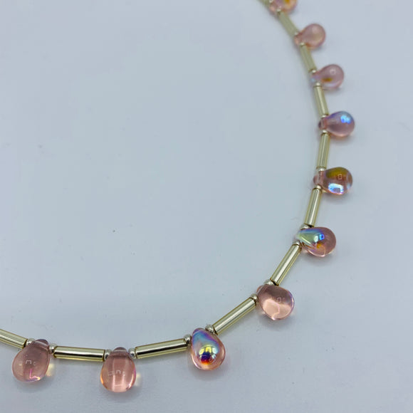 Rosie Necklace in Shiny Light Pink