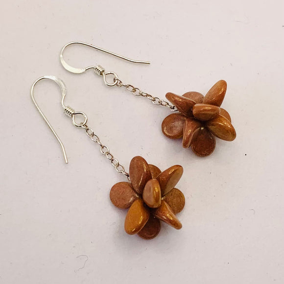 Heather Earrings in Reddish Brown Stone Finish