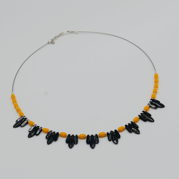 Rebecca Beaded Necklace in Black and Gold