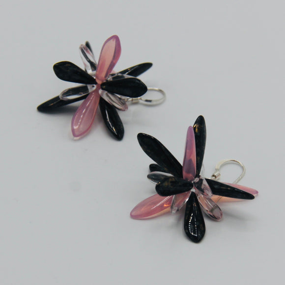 Emma Earrings in Pink and Black with Shiny Gold Stone Effects