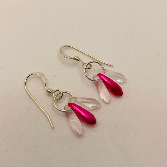 Janet Earrings in Bright Pink and Crystal