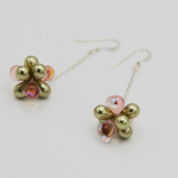 Shelalee Erica Earrings Pink Pearly Green Czech Glass Beads Sterling Silver