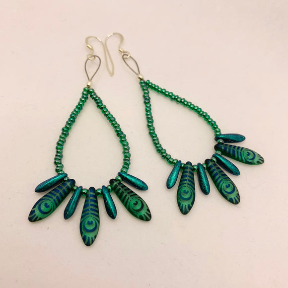 Amanda Earrings in Green with Laser Etched Peacock Design
