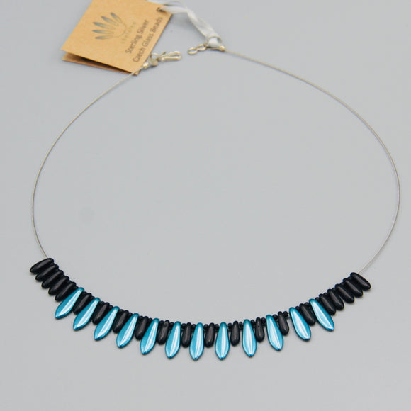 Rebecca Necklace in Satin Finish Blue and Matte Black