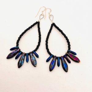 Amanda Earrings Beaded in Metallic Laser-Etched Black