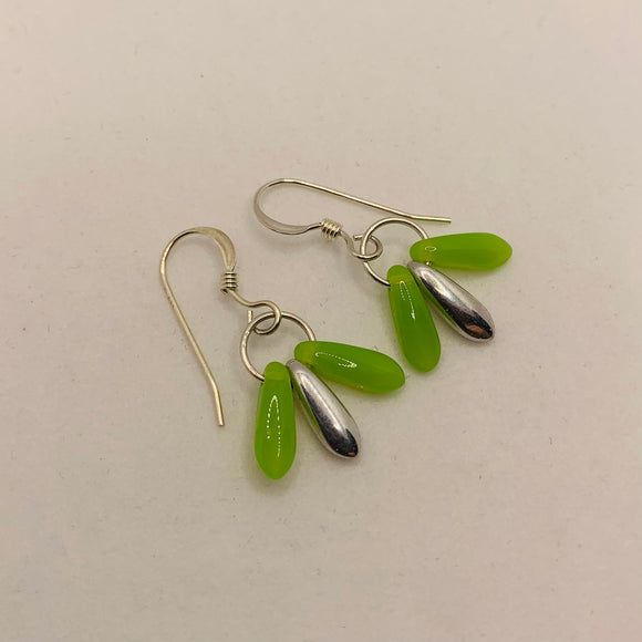 Janet Earrings in Bright Spring Green and Silver