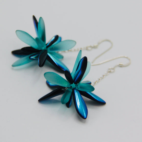 Laura Earrings in Turquoise and Shiny Black