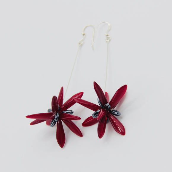 Shelalee Emma Earrings in Maroon Red Czech Glass Beads Sterling Silver