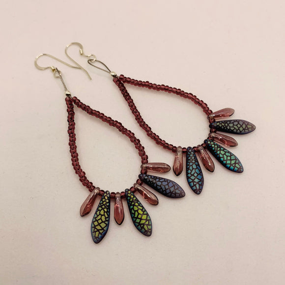 Amanda Earrings Beaded in Purple and Matte Black Snakeskin