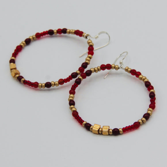 Hannah Boho Earrings in Red and Gold