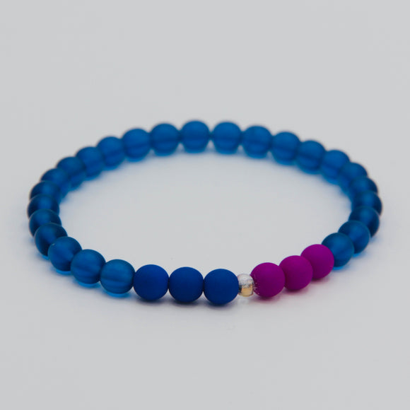 Shelalee Zion Bracelet Neon Blue Purple Czech Glass Beads