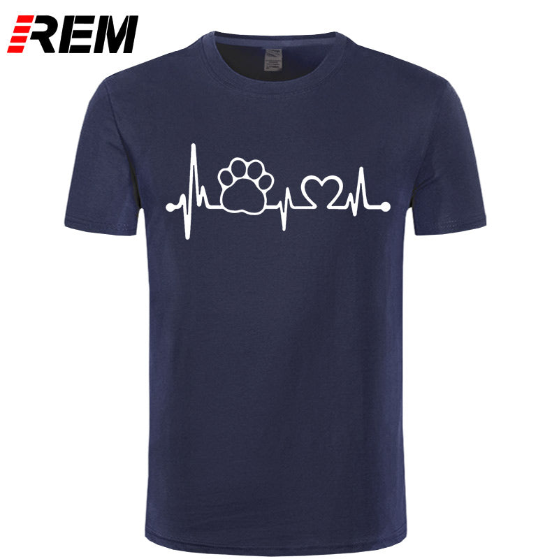 REM Paw Heartbeat Lifeline dog cat men t shirt Halajuku Casual