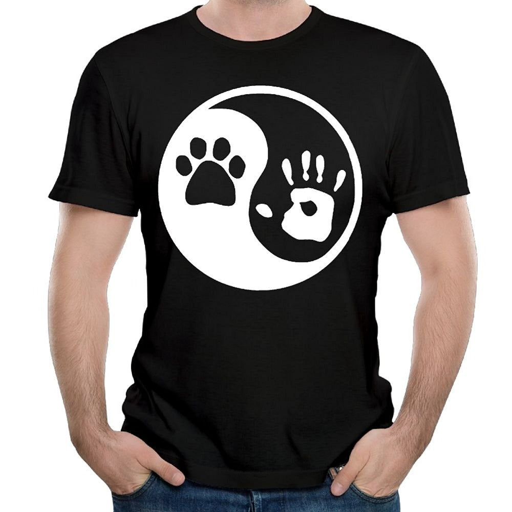 Fashion Shirts Dog Human Men'S O-Neck Short Sleeve Graphic T Shirts