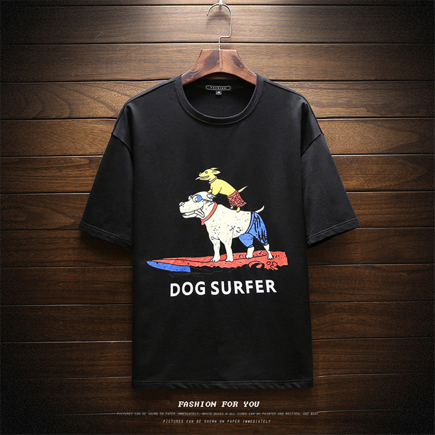 2018 Summer Fashion Mens Casual Round Neck T shirt New Men s Personality Dog Cartoon Print Loose Short Sleeve Mens T shirts