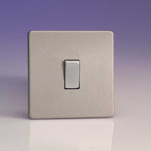 Varilight Screwless 1 Gang 2 Way Switch With Metal Rocker (Single XDS1S) - Brushed Steel - XDS1S