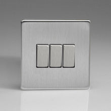 Varilight Screwless 3 Gang 2 Way Switch With Metal Rocker (Single XDS3S) - Brushed Steel - XDS3S