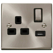 Click Scolmore Deco Satin Chrome 1 Gang USB Outlet Switch With Black Ingot - VPSC571BK