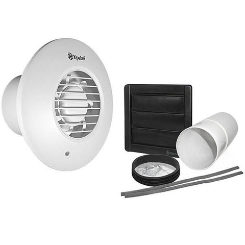 Xpelair DX100PR Pullcord Round Extractor Fan with Wall Kit - 93007AW