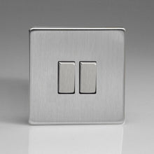 Varilight Screwless 2 Gang 2 Way Switch With Metal Rocker (Single XDS2S) - Brushed Steel - XDS2S