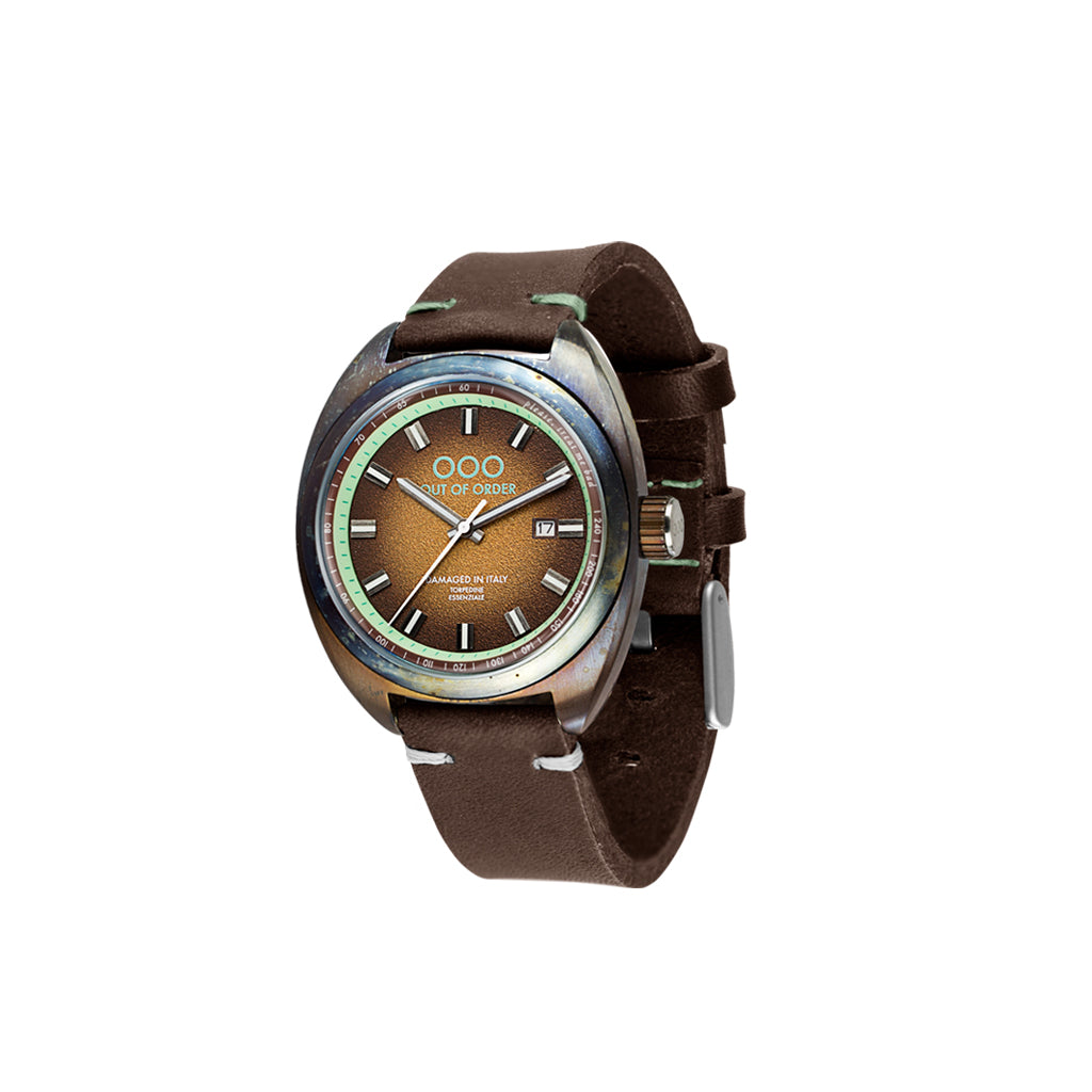 Torpedine 3H Choco Turquoise Leather Band