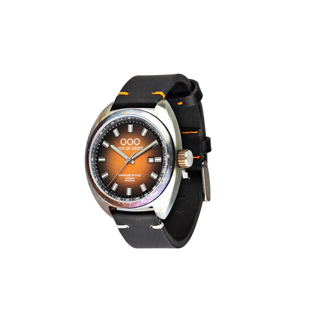 Torpedine 3H Orange Black Leather Band