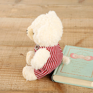 [MADE IN JAPAN] Fluffy Bear Plush - mocopalcchi (Cream Bear in Overalls / Red Stripe) - Hamee Strapya World