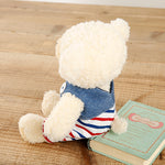 [MADE IN JAPAN] Fluffy Bear Plush - mocopalcchi (Cream Bear in Overalls Tricolor / Blue Border) - Hamee Strapya World