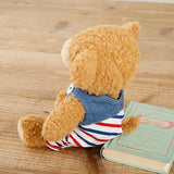 [MADE IN JAPAN] Fluffy Bear Plush - mocopalcchi (Brown Bear in Overalls Tricolor / Blue Border) - Hamee Strapya World