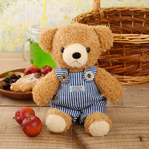 [MADE IN JAPAN] Fluffy Bear Plush - mocopalcchi (Brown Bear in Overalls / Blue Stripe) - Hamee Strapya World