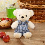 [MADE IN JAPAN] Fluffy Bear Plush - mocopalcchi (Cream Bear in Overalls / Blue Stripe) - Hamee Strapya World