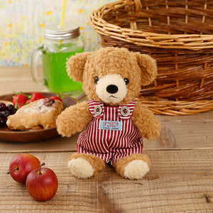 [MADE IN JAPAN] Fluffy Bear Plush - mocopalcchi (Brown Bear in Overalls / Red Stripe ) - Hamee Strapya World