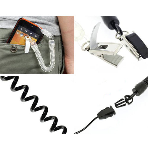 Thick & Strong Spring Stretchy Coil Cord Strap with Steel Clip (Black) - Hamee Strapya World