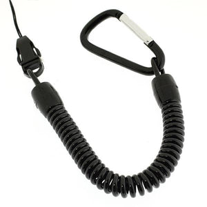 Thick & Strong Spring Stretchy Coil Cord Strap with Carabiner (Black) - Hamee Strapya World
