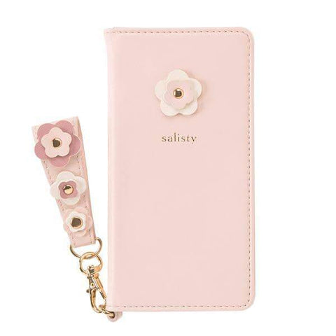 salisty P Flower Studs Diary Phone Case (Baby Pink) - Hamee Strapya World