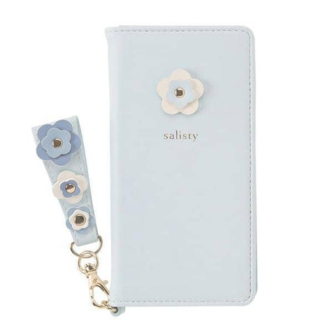 salisty P Flower Studs Diary Phone Case (Pale Blue) - Hamee Strapya World