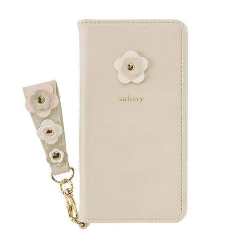 salisty P Flower Studs Diary Phone Case (Light Greige) - Hamee Strapya World