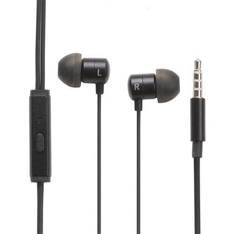 Compact Metallic Earphone 3.5 mm (Black) - Hamee Strapya World
