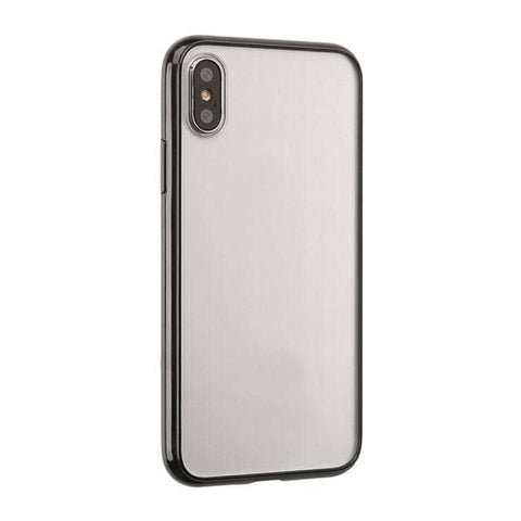 Side Colored Clear Hybrid Phone Case for iPhone XS Max (Black)