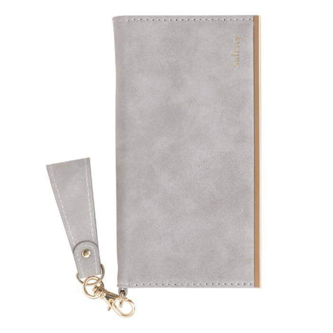 salisty Q Suede Style Diary Phone Case (Pale Grey) - Hamee Strapya World