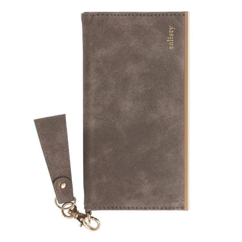 salisty Q Suede Style Diary Phone Case (Mocha Brown)