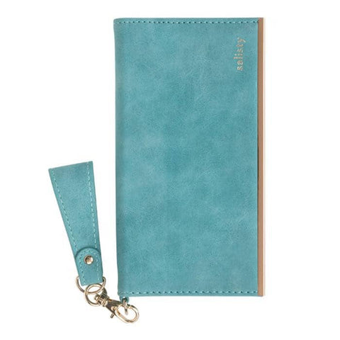 salisty Q Suede Style Diary Phone Case for iPhone XS/X (Turquoise) - Hamee Strapya World