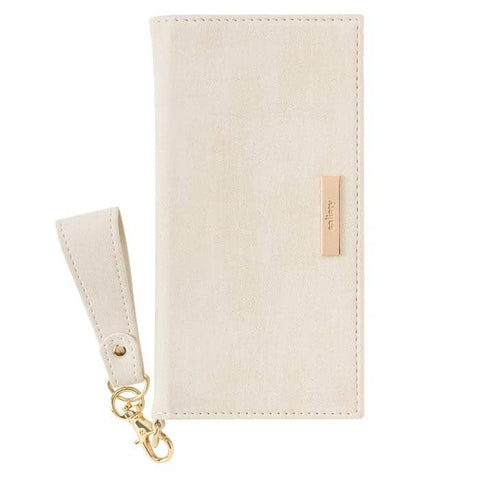 salisty Q Suede x Metal Logo Diary Phone Case (Light Beige) - Hamee Strapya World