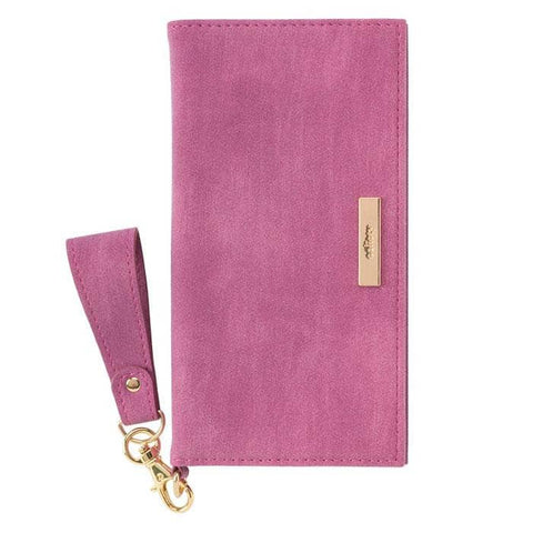 salisty Q Suede x Metal Logo Diary Phone Case for iPhone XS/X (Purple Pink) - Hamee Strapya World