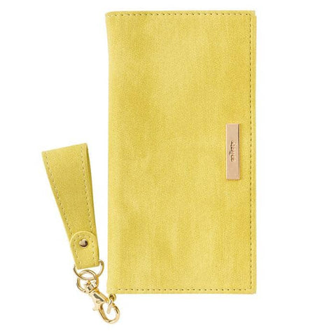 salisty Q Suede x Metal Logo Diary Phone Case for iPhone XS/X (Citron Yellow) - Hamee Strapya World