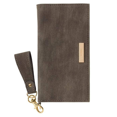 salisty Q Suede x Metal Logo Diary Phone Case (Dark Olive) - Hamee Strapya World